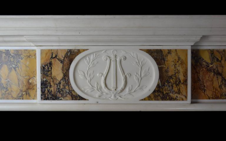 "18th Century ""Dublin"" Chimneypiece in Statuary Marble with Siena Marble 2"