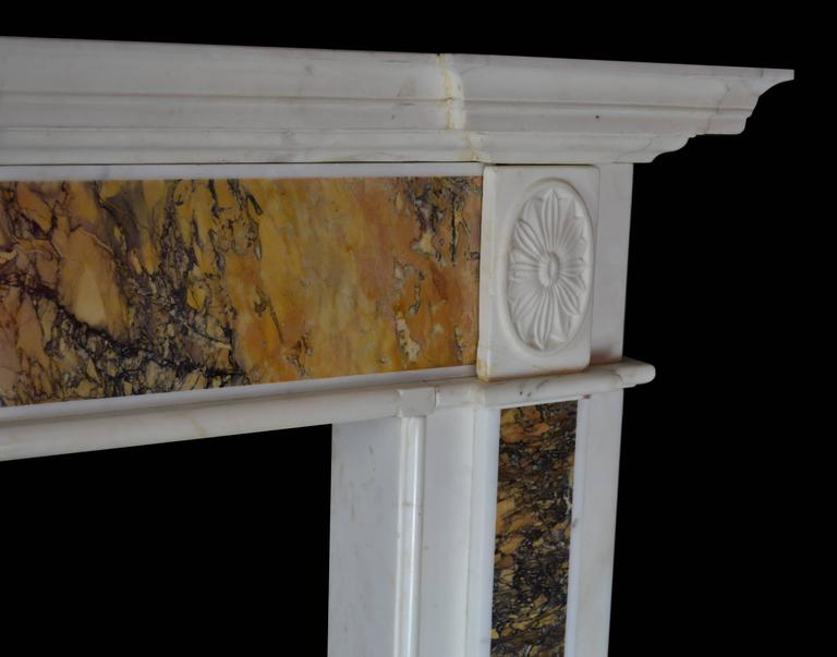"18th Century ""Dublin"" Chimneypiece in Statuary Marble with Siena Marble 3"