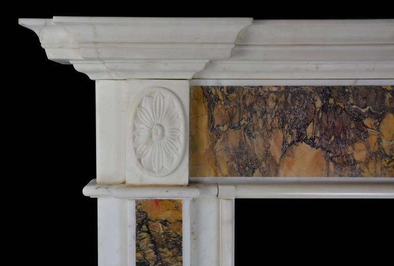 "18th Century ""Dublin"" Chimneypiece in Statuary Marble with Siena Marble 4"