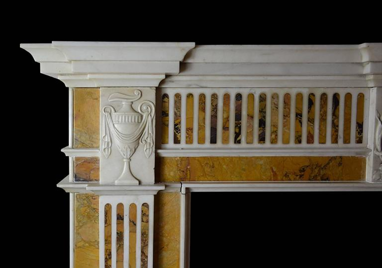 Georgian 18th Century Irish Chimneypiece in Statuary Marble with Convent Siena Marble For Sale
