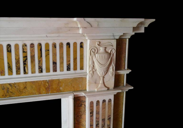 18th Century Irish Chimneypiece in Statuary Marble with Convent Siena Marble For Sale 1