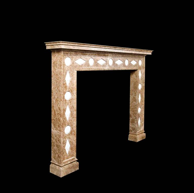 European Regency Style Reproduction Mantel in Light Emperador Marble and Limestone For Sale