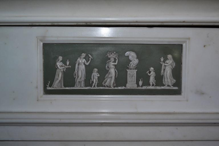 Georgian 18th Century Statuary Marble Mantel with Wedgewood Panel Inlay (GEO-ZE38) For Sale