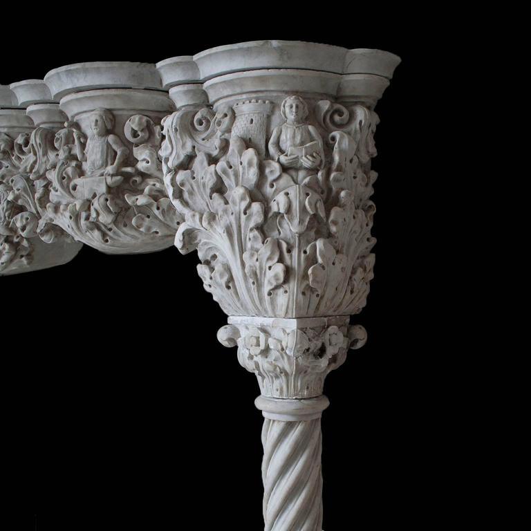 Gothic Antique Venetian Style Carrara Mantel For Sale