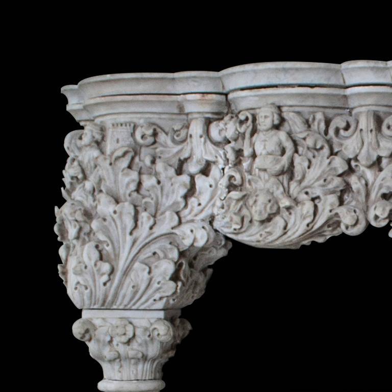 Italian Antique Venetian Style Carrara Mantel For Sale