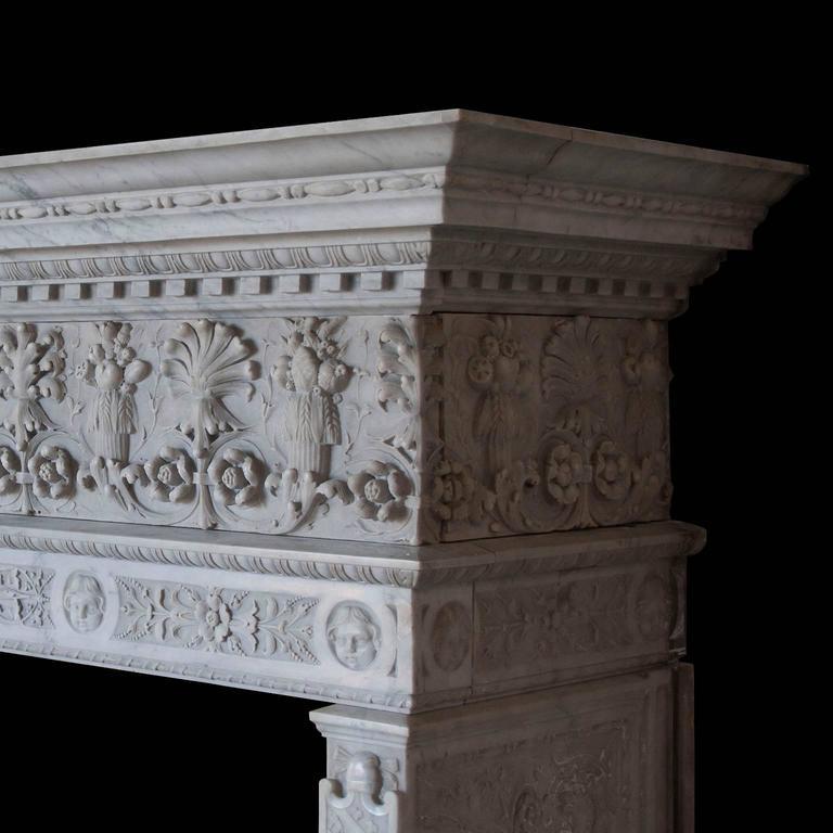 Renaissance Antique Italianate Marble Mantel For Sale