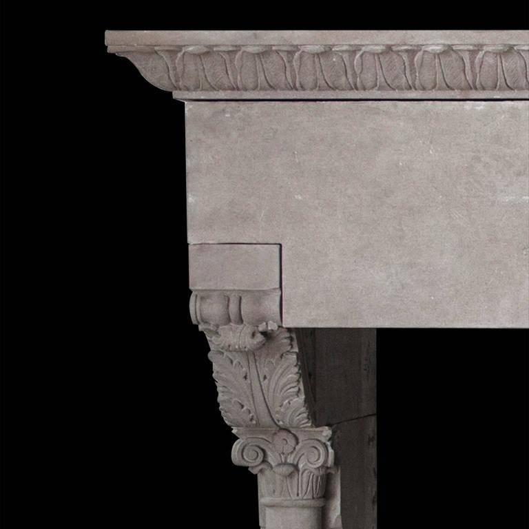 Carved Modern Gothic Mantel in Sandstone For Sale