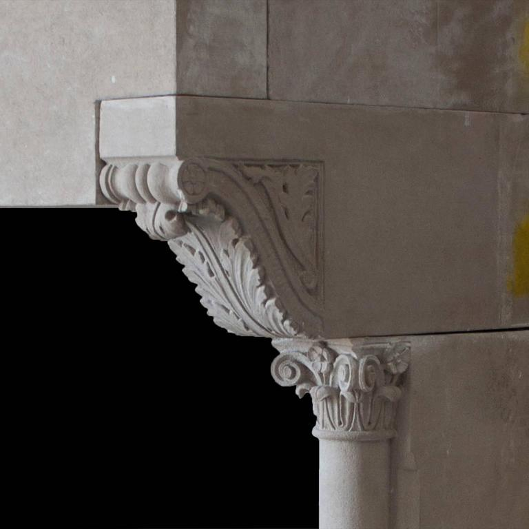 Modern Gothic Mantel in Sandstone In Good Condition For Sale In New York, NY