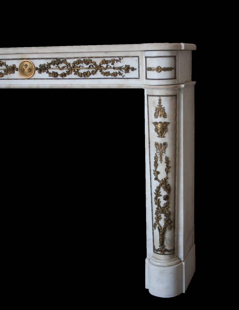 French Empire Style Marble Mantlepiece with Fine Ormolu Detailing For Sale