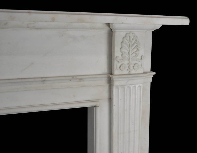 Carved 19th Century Neoclassical Statuary Marble Mantelpiece, 'GEO-ZE97' For Sale