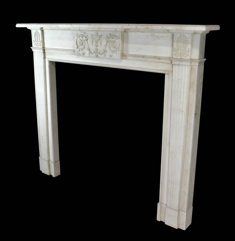 19th Century Neoclassical Statuary Marble Mantelpiece, 'GEO-ZE97' In Good Condition For Sale In New York, NY
