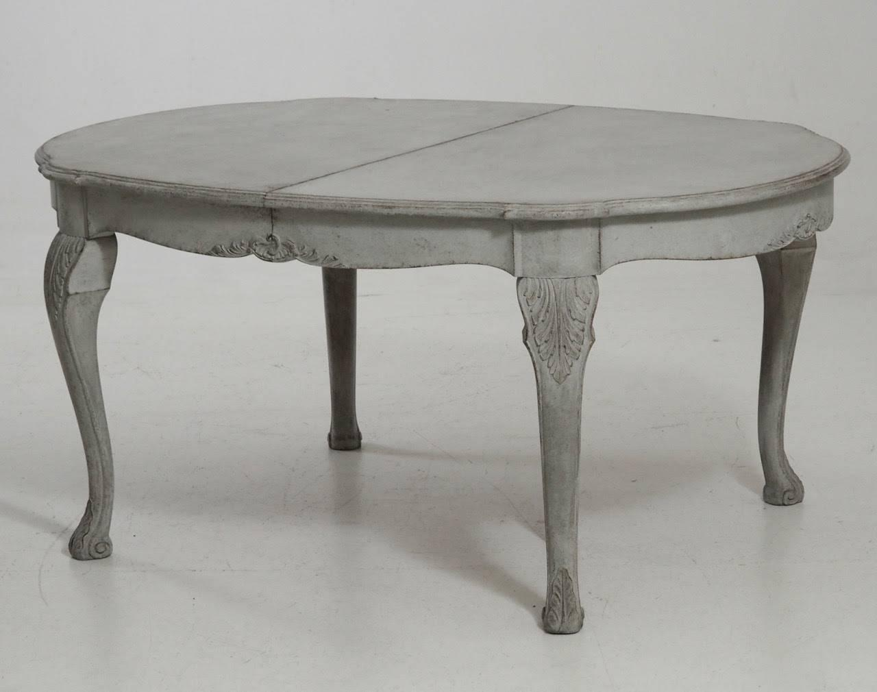 Antique Swedish Painted Extension Dining Table With Three