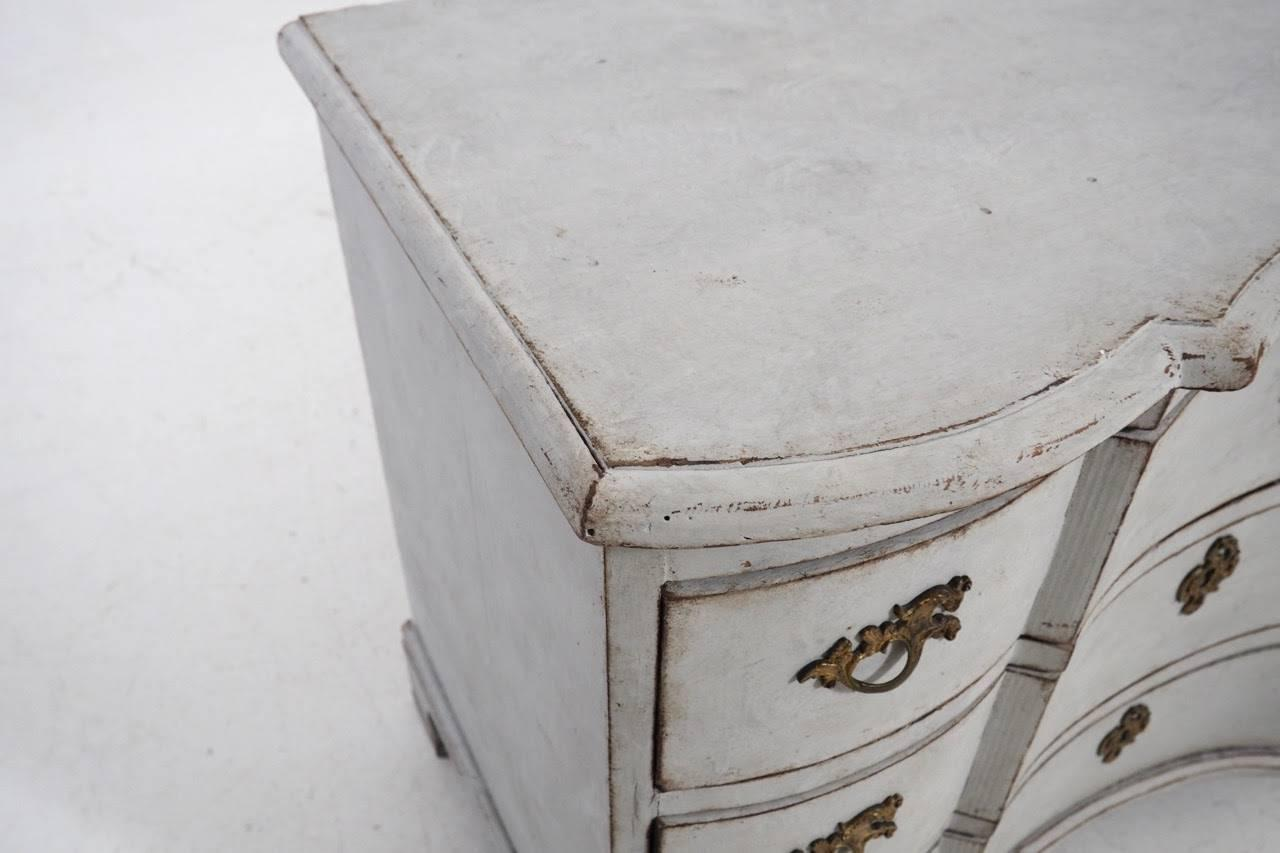 Antique Swedish Baroque Period Serpentine Painted Chest