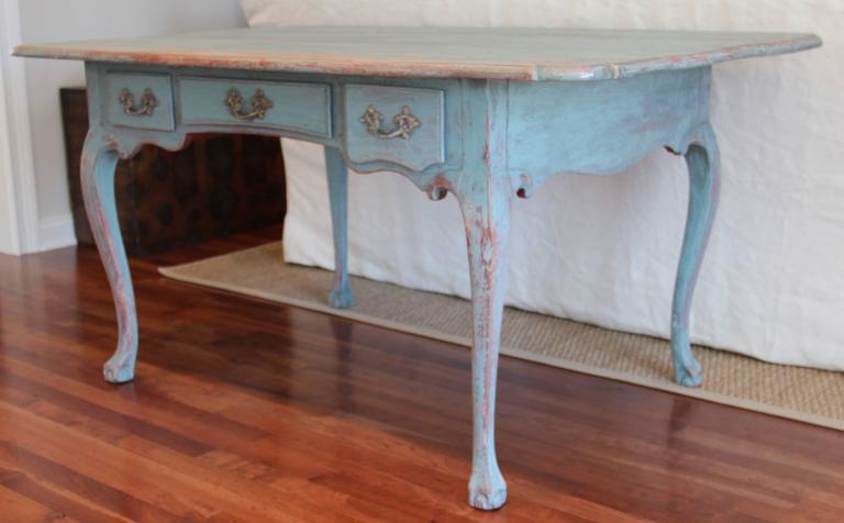 Antique Swedish Rococo Desk With Br Hardware In Original Paint - Antique  Desk Hardware - Best - Antique Desk Hardware Antique Furniture