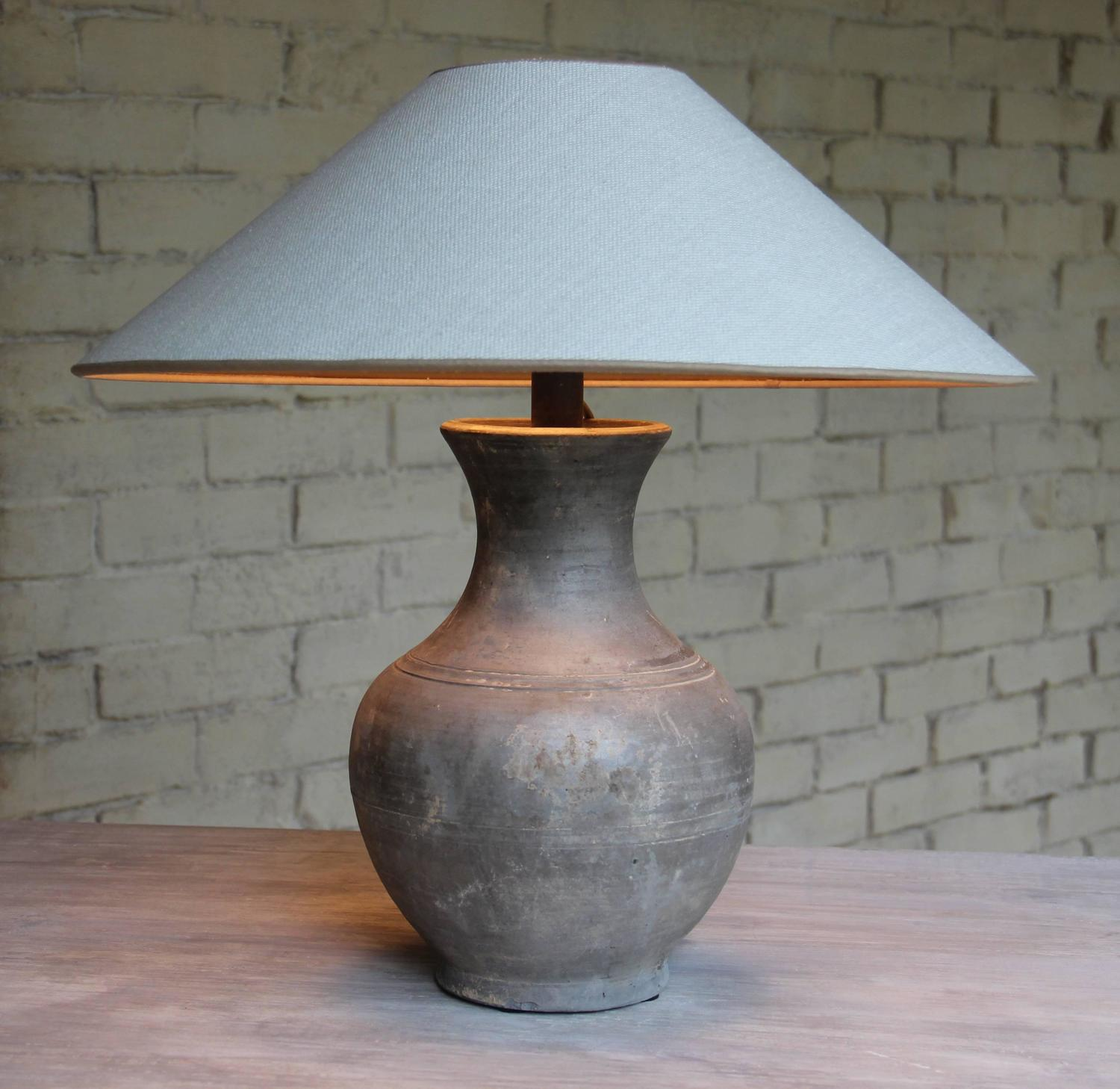 Chinese Han Dynasty Unglazed Vase Antique Table Lamp At
