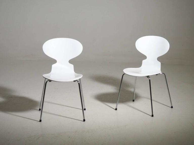 Arne Jacobsen Designed Set of Ten White Danish Modern Ant Chairs, 1976-86 3