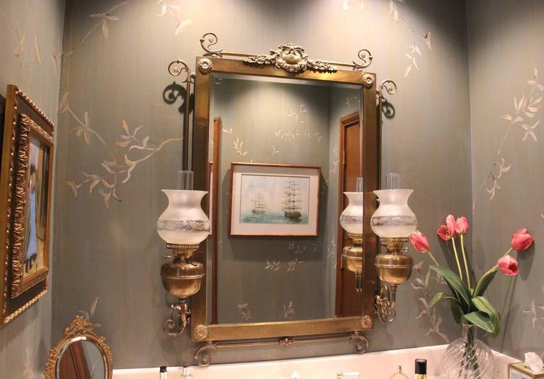 Art Nouveau Period Wall Mirror with Kerosene Lamp Sconces, 19th Century Antique 7