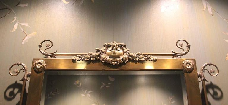 Art Nouveau Period Wall Mirror With Kerosene Lamp Sconces
