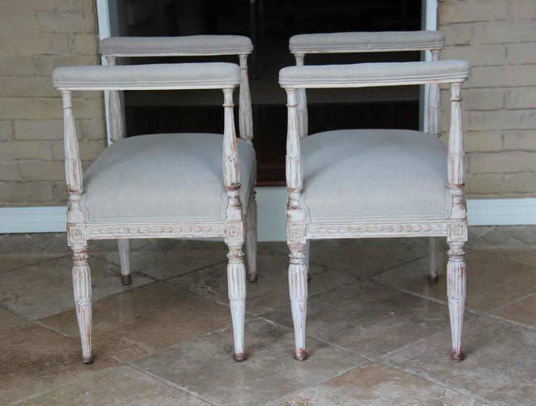 Swedish Gustavian Antique Pair Window Seat Benches with Armrests, 19th Century For Sale 1