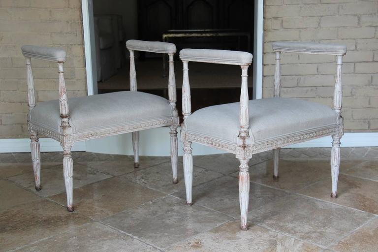 Hand-Carved Swedish Gustavian Antique Pair Window Seat Benches with Armrests, 19th Century For Sale