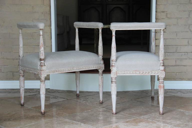 Swedish Gustavian Antique Pair Window Seat Benches with Armrests, 19th Century For Sale 3