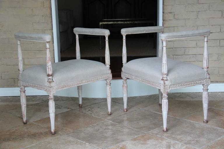 Swedish Gustavian Antique Pair Window Seat Benches with Armrests, 19th Century In Excellent Condition For Sale In Wichita, KS