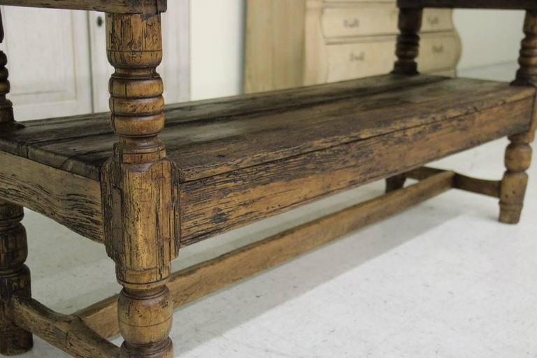 Spanish Provincial Antique Bishop's Bench as Console Table, 19th Century 6
