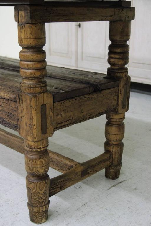 Spanish Provincial Antique Bishop's Bench as Console Table, 19th Century 9