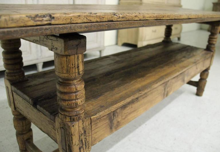 Spanish Provincial Antique Bishop's Bench as Console Table, 19th Century In Excellent Condition For Sale In Wichita, KS