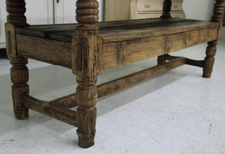 Wood Spanish Provincial Antique Bishop's Bench as Console Table, 19th Century For Sale