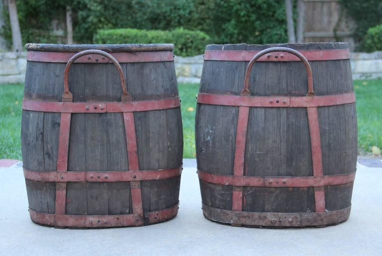 French Wood Grape Hods with Metal Straps and Handle, 19th Century, Antique 7