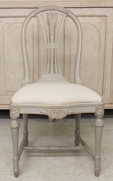 Set of Six Swedish Gustavian Style Painted Wood Side Chairs 2