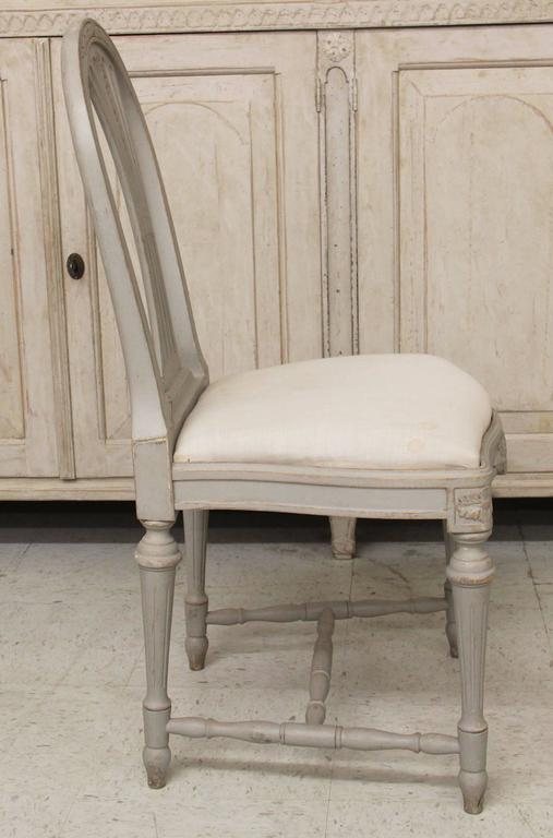 Set of Six Swedish Gustavian Style Painted Wood Side Chairs 4