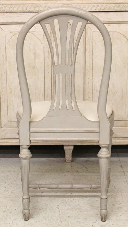 Set of Six Swedish Gustavian Style Painted Wood Side Chairs 6