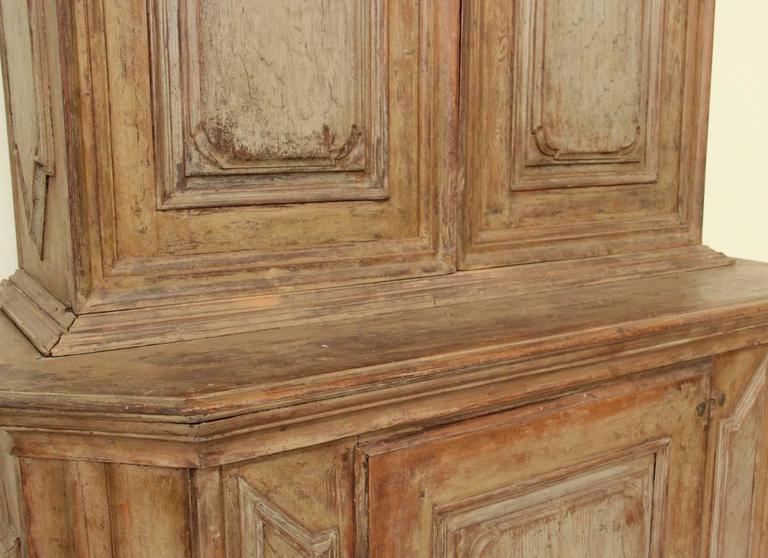 18th Century Swedish Baroque Period Two-Part Original Painted Cabinet  In Excellent Condition For Sale In Wichita, KS