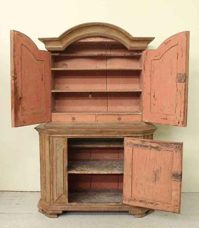 18th Century Swedish Baroque Period Two-Part Original Painted Cabinet  For Sale 2