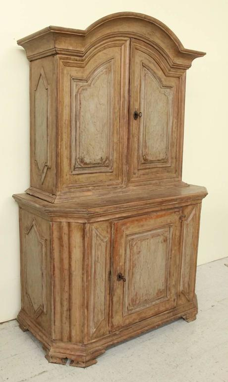 Wood 18th Century Swedish Baroque Period Two-Part Original Painted Cabinet  For Sale