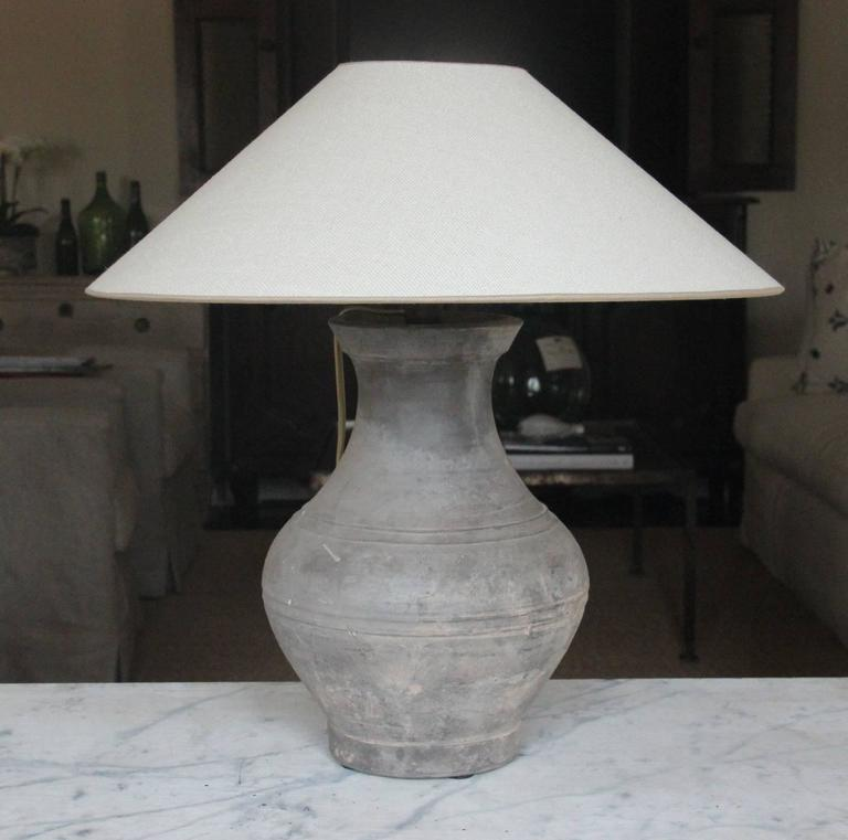 Chinese Han Dynasty Unglazed Vase Antique Table Lamp For Sale 1