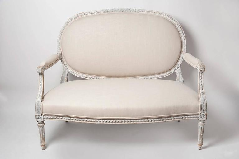 Linen 19th Century, French, Louis XVI Style Salon Sofa in Original Paint For Sale