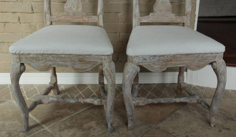 18th Century and Earlier 18th Century Pair of Swedish Rococo Period Side Chairs For Sale
