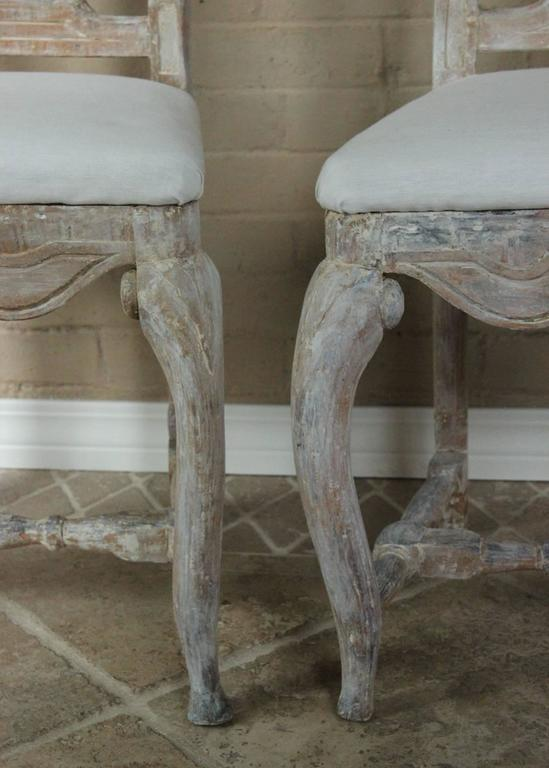 Wood 18th Century Pair of Swedish Rococo Period Side Chairs For Sale