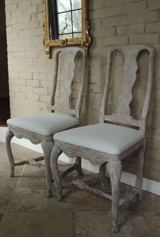 18th Century Pair of Swedish Rococo Period Side Chairs For Sale 1