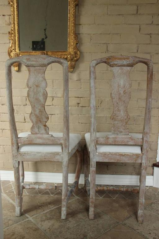 18th Century Pair of Swedish Rococo Period Side Chairs For Sale 4