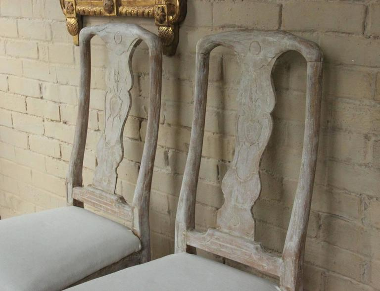 18th Century Pair of Swedish Rococo Period Side Chairs For Sale 2