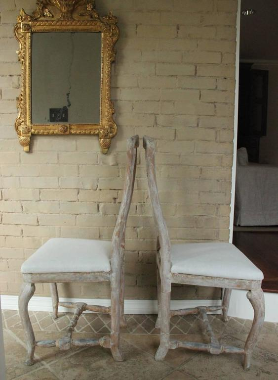 18th Century Pair of Swedish Rococo Period Side Chairs For Sale 3