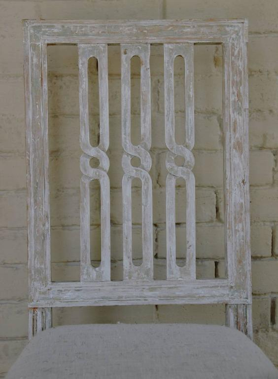 Pine Set of Four 18th Century Swedish Gustavian Square Back Chairs in Original Paint  For Sale