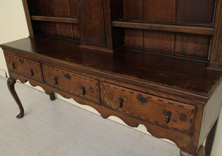 English Georgian Hutch or Welsh Dresser in Two Parts, 18th Century Antique 8
