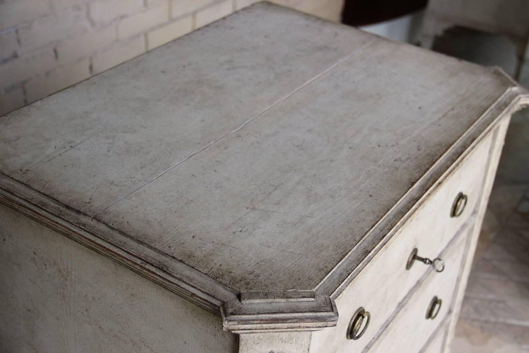 19th Century Swedish Gustavian Style Pair of Painted Bedside Chests For Sale 2