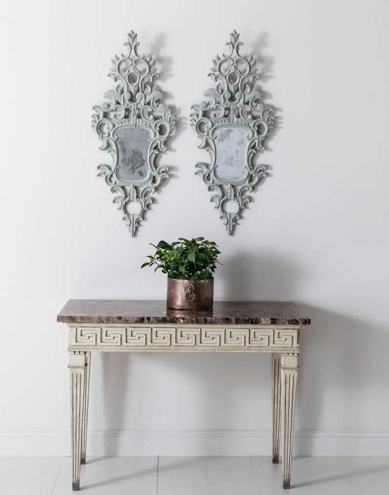 Wood 19th Century Pair of Venetian Mirrors Appliqués with Original Mirror Plate   For Sale