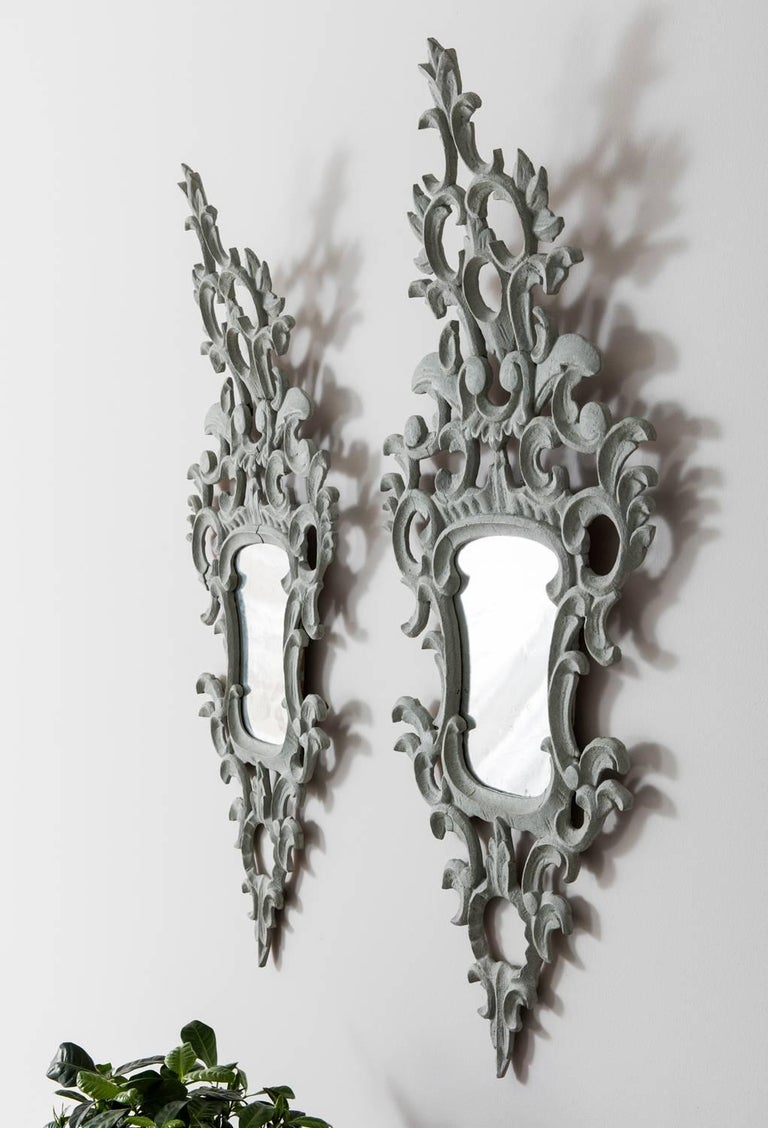 Hand-Carved 19th Century Pair of Venetian Mirrors Appliqués with Original Mirror Plate   For Sale